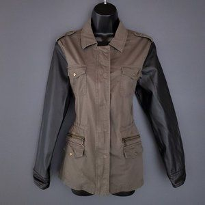 REITMANS Utility Jacket Coat Faux Leather Sleeves